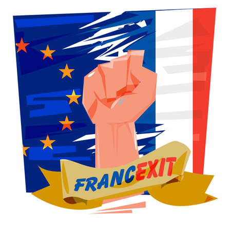 Fist with European Union and France flag. Francexit concept - vector illustration