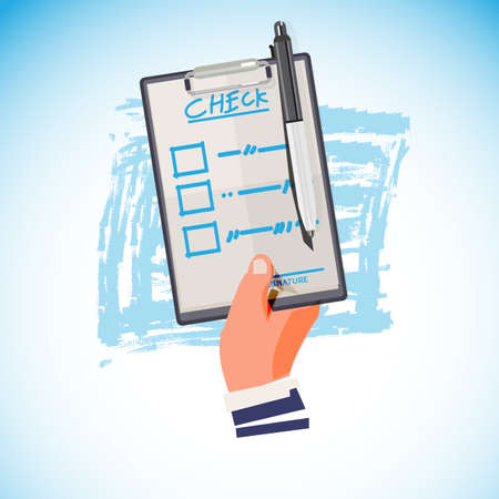 Hand holding checklist and pen- vector illustration