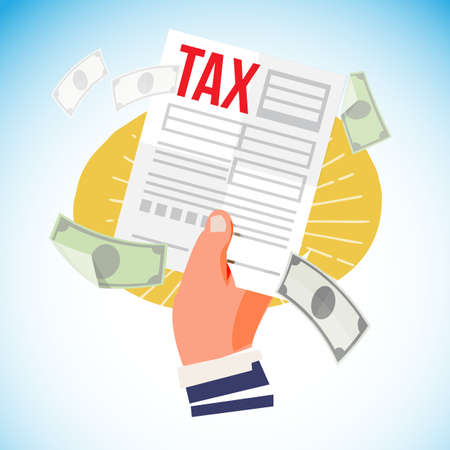 Hand with Tax form paper - vector illustration Illustration