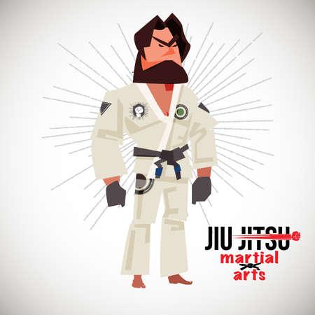 Braziliaanse jiu-jitsu (BJJ) jager. Characterdesign met logo - vectorillustratie