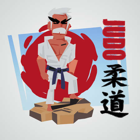 Judo fighter character design with logotype for header design - vector illustration