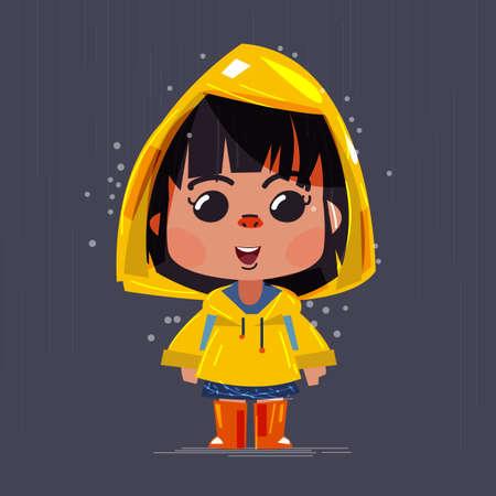 schattig meisje draagt ??gele regenjassen en laarzen onder de regen. Characterdesign - vectorillustratie Stock Illustratie