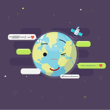 boîte de message autour du monde. concept de communication globale - illustration vectorielle