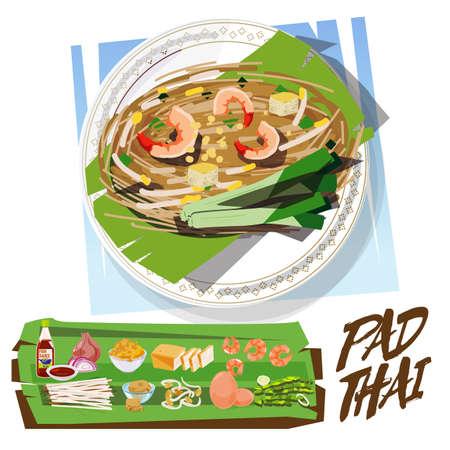 PadThai met ingrediënten ingesteld. Thais eten concept. Thai Fried Noodle met garnalen - vectorillustratie