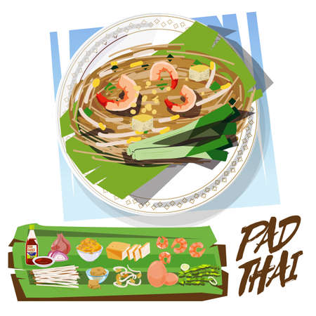 PadThai with ingredients set. Thai food concept. Thai Fried Noodle With Prawn - vector illustration Illustration