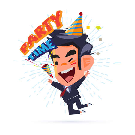 Happy businessman Happy and jumping with Party Time text. party popper. weekend party and successfully concept - vector illustration
