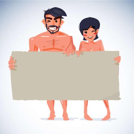 aantrekkelijke naakte man en vrouwen met blanco papier om uw tekst - vectorillustratie Stock Illustratie