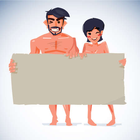 attractive naked man and women with blank paper to put your text - vector illustration Illustration