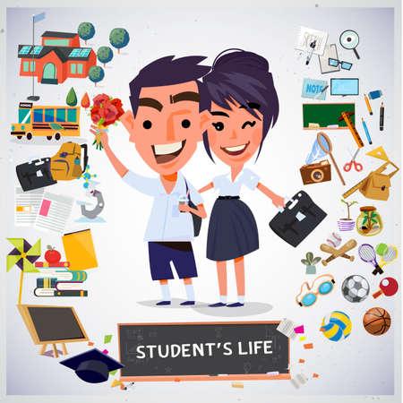 coppia di studenti con elemento. disegno dei personaggi. concetto di scuola - illustrazione vettoriale