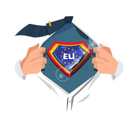 """남자 만화 스타일, 벡터 일러스트 레이 션에서 """"유럽 플래그""""를 표시하는 셔츠를 엽니 다."""