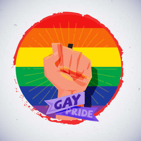 Fist hand with gay sexual flag. power of gay - vector illustration Illustration