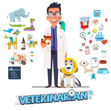 Lekarz weterynarii. Projekt postaci z zestawem ikon, medycyna zoologiczna - ilustracja wektorowa