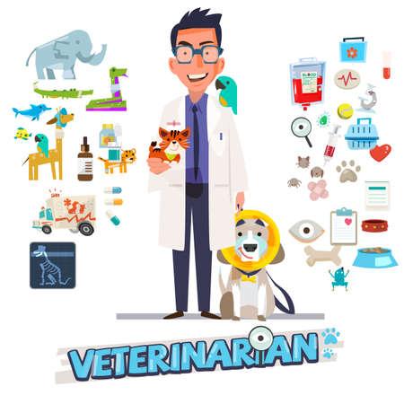 Veterinario. Diseño de personajes con conjunto de iconos, medicina zoológica - ilustración vectorial