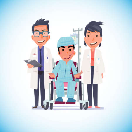 home care nurse: Doctor, nurse and senior woman patient in wheelchair at hospital corridor. healthy and illness concept - vector illustration