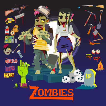 Zombie man and women. character design with icon set. weapon and survival kit - vector illustration