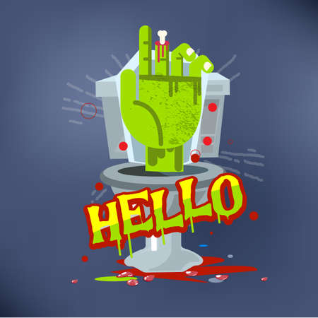 Zombie hand from flush toilet. horror concept - vector illustration Çizim