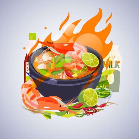 Tom Yum Kung with ingredients. Thai food concept - vector illustration