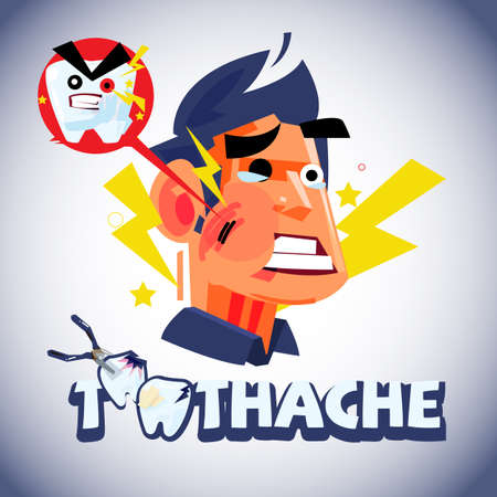 Toothache man in emotional with logotype for header design - vector illustration Illustration