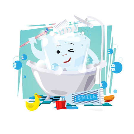 Tooth character bathing in bathroom. dental and healthy tooth concept - vector illustration
