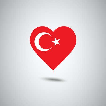 ハート形のトルコ国旗は、イラストをデザインします。  イラスト・ベクター素材