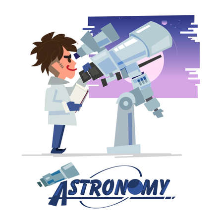 Astronomy looking at the telescope. character design with typographic design - vector illustration