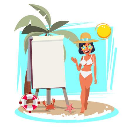 Zomer strand meisje presenteren met karton vectorillustratie.