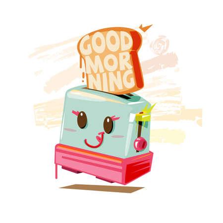 """El personaje lindo de la tostadora y el texto """"BUENA MAÑANA"""" dentro del pan tostado. tipográfico. concepto feliz mañana y desayuno - ilustración vectorial"""