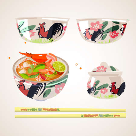 Ceramic bowl with a hen design. Thai food - vector illustration