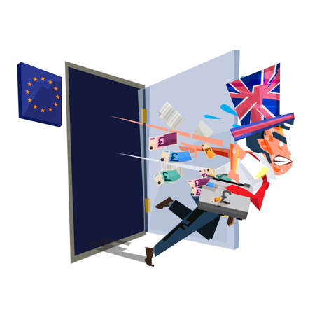 Man with Britain flag hat leaving from Europion Union room. Brexit concept - vector illustration Illustration