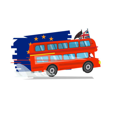 Double decker red bus of Britain  with Europe Union flag in behind. Brexit concept - vector illustration