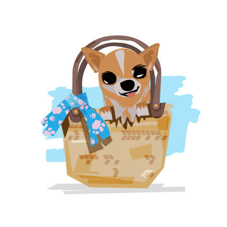 Little dog in a bag. cute pet concept - vector illustration
