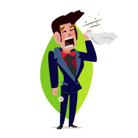 Man sneezing vector illustration