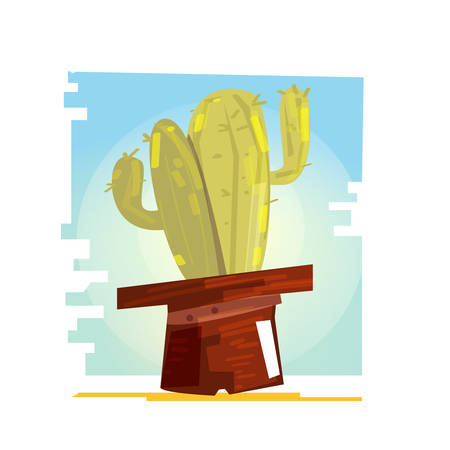 Cactus in the cowboy hat vector illustration Illustration