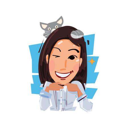 Glimlach wijfje met haar kat op hoofd. huisdier en eigenaar concept vectorillustratie