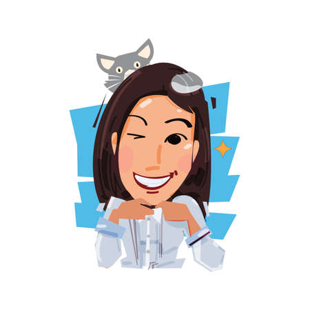 Smile female with her cat on head. pet and owner concept vector illustration Stok Fotoğraf - 88909417