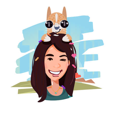 Smile female with her dog on head. pet and owner concept vector illustration 向量圖像