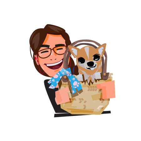 cute female with her chihuahua in the bag. pet and owner. pet love concept - vector illustration