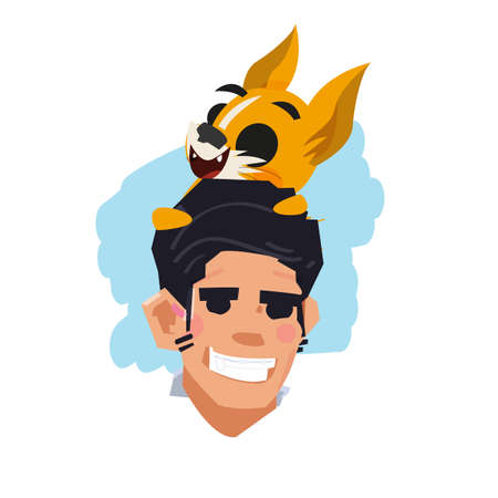 happy man with his dog on head. pet and owner concept - vector illustration