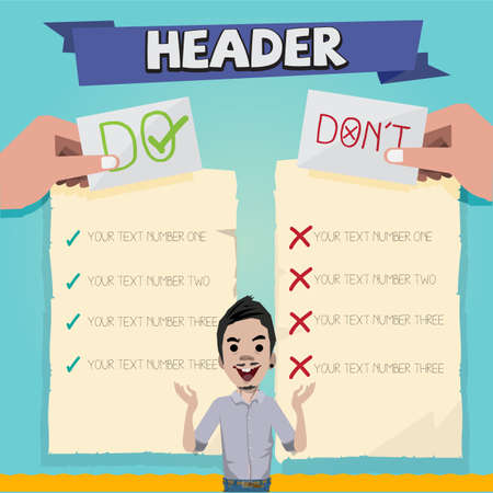 Do and dont with character design. paper of list - vector illustration