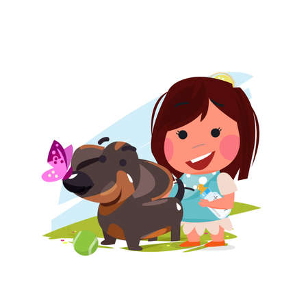 Cute girl with her dog. pet lover concept. dachshund- vector illustration