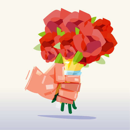 Fowers bouquet in hand. Wedding Bouquets. surprise and love concept - vector illustration Illustration