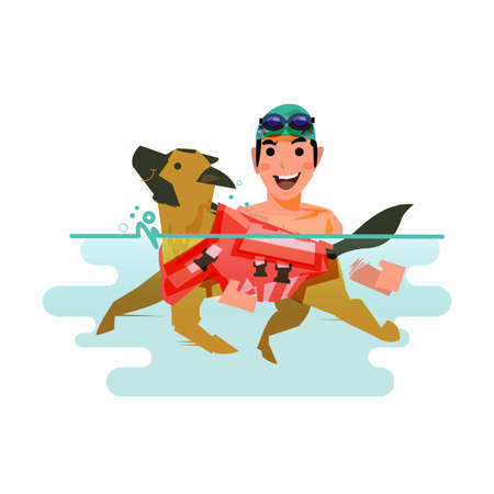 Dog swimming with owner. pet learn to swim concept - vector illustration.