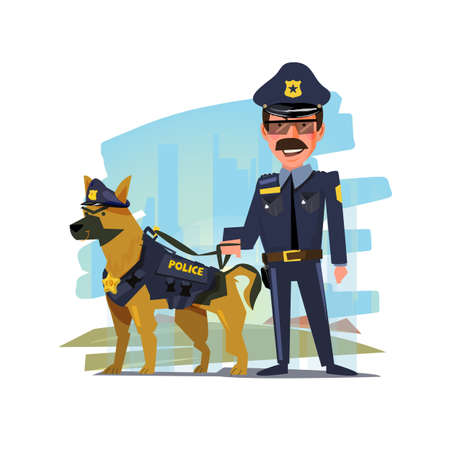 lightbar: police officer standing with his partner. police dog. character design - vector illustration