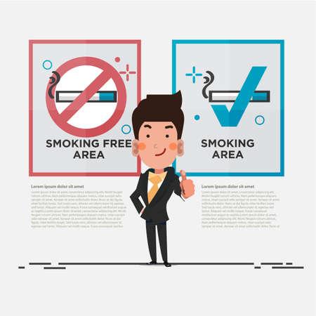 REa libre de fumar y signo de zona de fumadores con empresario inteligente mostrando los pulgares para arriba. diseño de personajes - vector Foto de archivo - 89601085