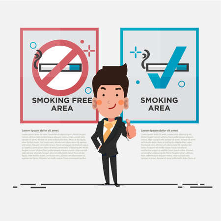 smoking free area and smoking area sign with smart businessman showing thumbs up. character design - vector