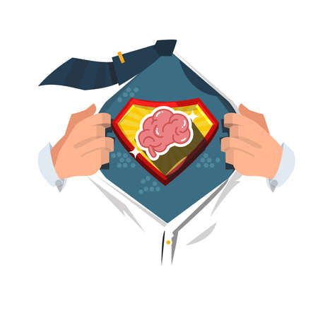 男性コミック スタイルで脳を表示するオープン シャツ。超賢いコンセプト - ベクトル図