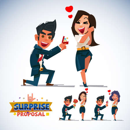 surprise proposal character .smart man giving a ring for his girlfriend. various of gift. Vettoriali