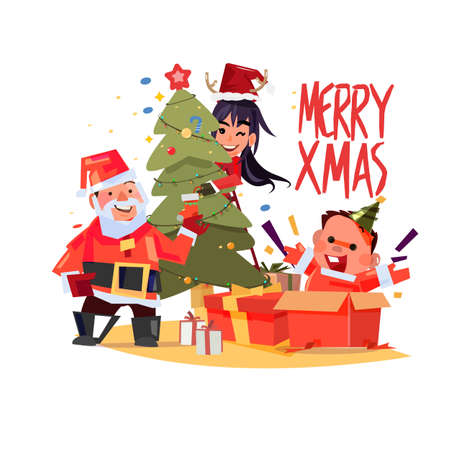Santa claus, man and women decorating christmas tree. happy baby in present box, Xmas family character design. typographic design Illustration