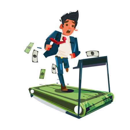 Worried businessman running on money treadmill .run out of money. money trap. Salaryman life - vector illustration Stock Illustratie