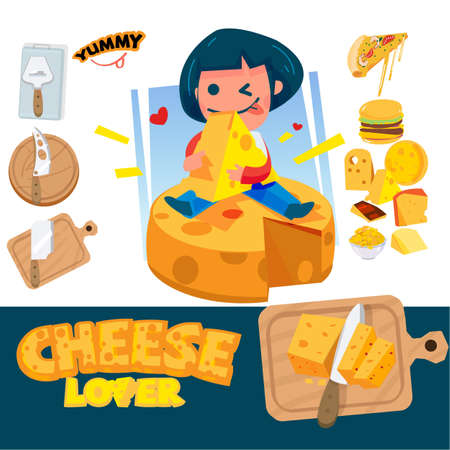 Cheese Lover girl huge a yellow cheese and sit on big piece of cheese. Different kinds of cheeses knives and food. typographic design - vector illustration